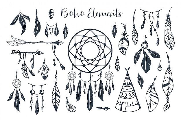 Hand getekend boho stijl element collectie