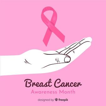 Hand getekend borst kanker bewustzijn met hand