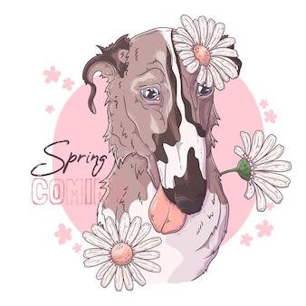 Hand getekend borzoi hond met bloemen