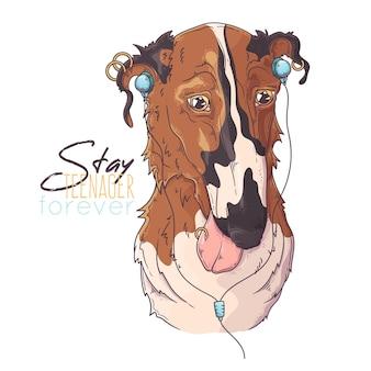 Hand getekend borzoi hondenportret met accessoires