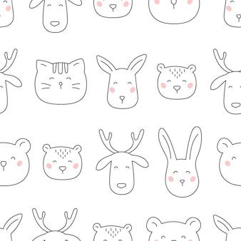 Hand getekend bos dieren naadloze patroon.