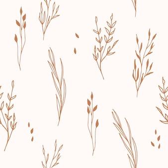 Hand getekend botanisch naadloos patroon voor plakboek textiel stof stationaire ambachtelijke boho-stijl
