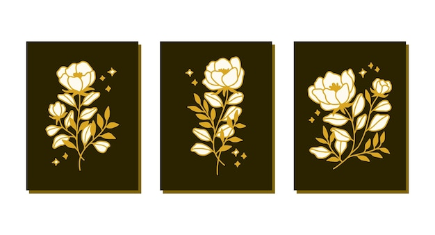 Hand getekend botanische roze bloem kaartsjabloon collectie