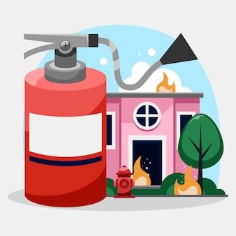Hand getekend brandpreventieconcept