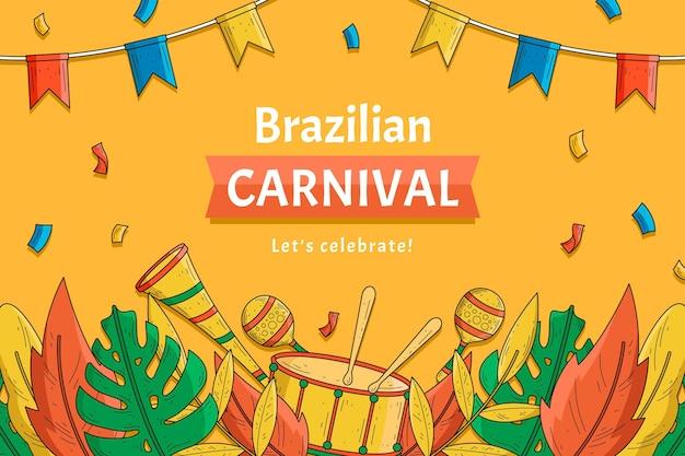 Hand getekend braziliaans carnaval met confetti