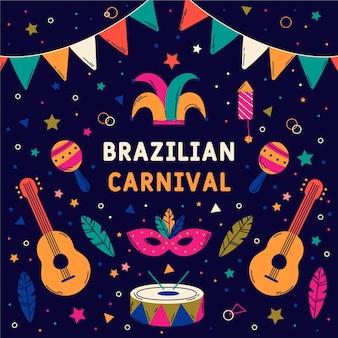 Hand getekend braziliaans carnaval met instrumenten