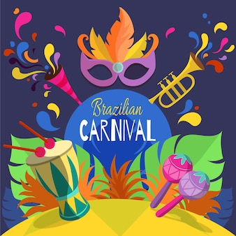 Hand getekend braziliaans carnaval met masker