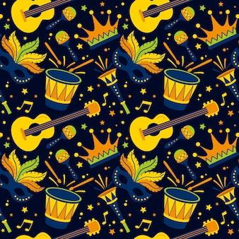 Hand getekend braziliaans carnaval patroon