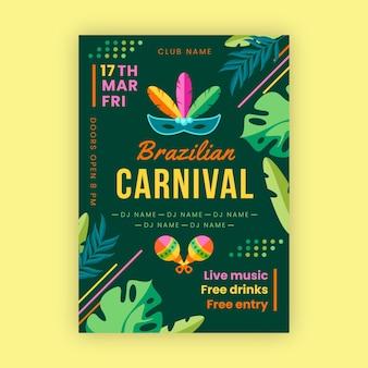 Hand getekend braziliaans carnaval poster