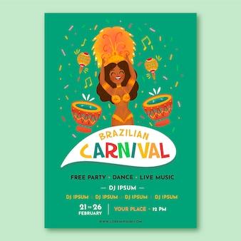 Hand getekend braziliaans carnaval sjabloon folder