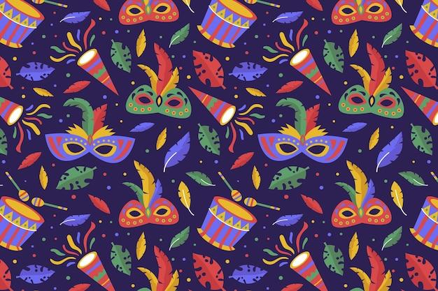 Hand getekend braziliaans kleurrijk carnaval patroon
