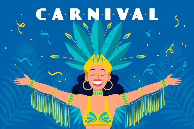 Hand getekend braziliaanse carnaval concept