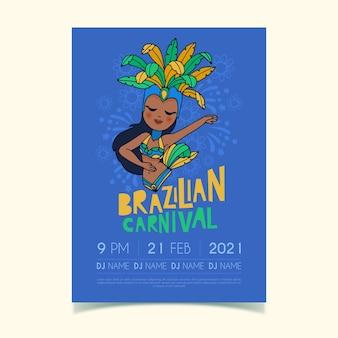 Hand getekend braziliaanse carnaval danser poster