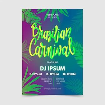 Hand getekend braziliaanse carnaval flyer met tropische bladeren