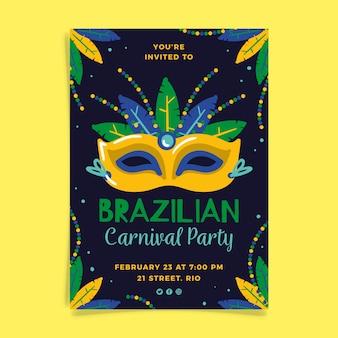 Hand getekend braziliaanse carnaval flyer sjabloon