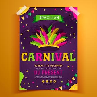 Hand getekend braziliaanse carnaval flyer