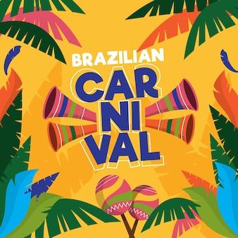 Hand getekend braziliaanse carnaval illustratie
