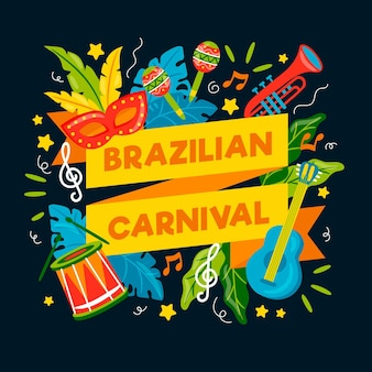 Hand getekend braziliaanse carnaval illustraties