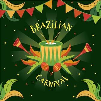 Hand getekend braziliaanse carnaval instrumenten