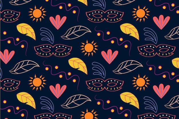 Hand getekend braziliaanse carnaval naadloze patroon met bladeren en zon