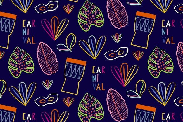 Hand getekend braziliaanse carnaval naadloze patroon met percussie muziekinstrumenten