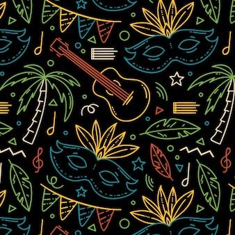 Hand getekend braziliaanse carnaval patroon met muziekinstrumenten