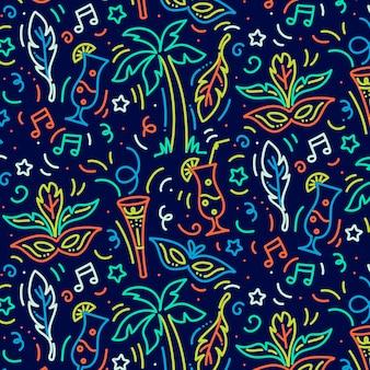 Hand getekend braziliaanse carnaval patroon