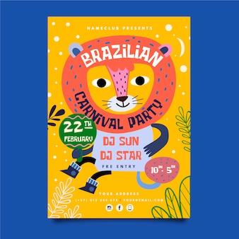 Hand getekend braziliaanse carnaval poster sjabloon