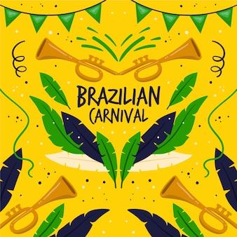 Hand getekend braziliaanse viering carnaval