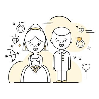 Hand getekend bruidspaar