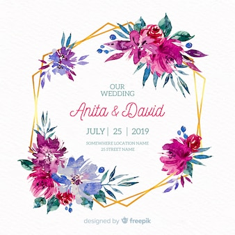 Hand getekend bruiloft bloemen achtergrond