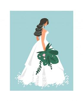 Hand getekend bruiloft bruids in witte jurk illustratie op blauwe achtergrond