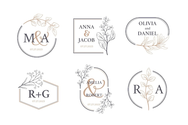 Hand getekend bruiloft monogram logo pack