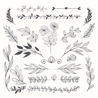 Hand getekend bruiloft ornamenten collectie Gratis Vector