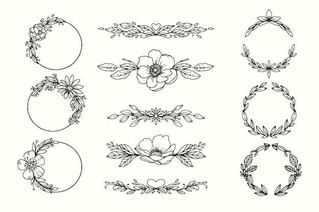 Hand getekend bruiloft ornamenten