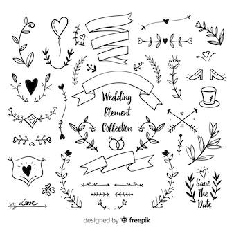 Hand getekend bruiloft sieraad collectio