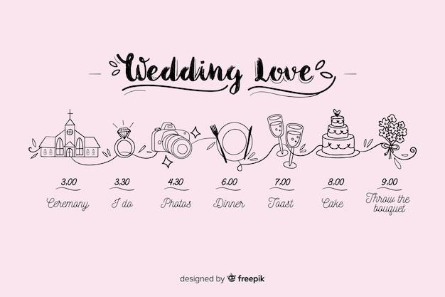 Hand getekend bruiloft tijdlijn
