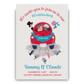 Hand getekend bruiloft uitnodiging met bruidegom en bruid in auto