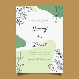 Hand getekend bruiloft uitnodiging sjabloon in florale stijl