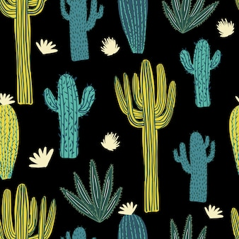 Hand getekend cactus naadloos patroon