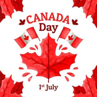Hand getekend canada dag illustratie