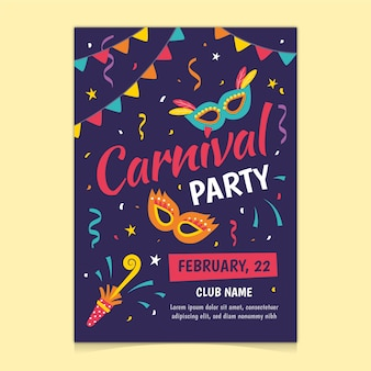 Hand getekend carnaval feest flyer / poster