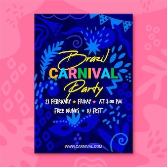 Hand getekend carnaval feest flyer