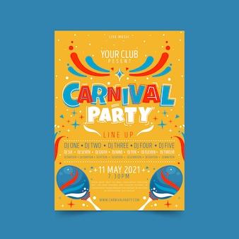 Hand getekend carnaval feest poster met maracas