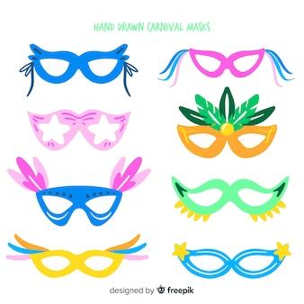 Hand getekend carnaval masker collectie