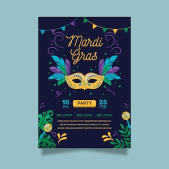 Hand getekend carnaval masker folder sjabloon