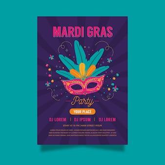 Hand getekend carnaval masker poster sjabloon