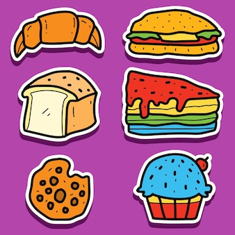 Hand getekend cartoon assortiment brood sticker ontwerpen