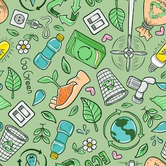 Hand getekend cartoon eco recycle naadloze patroon achtergrond
