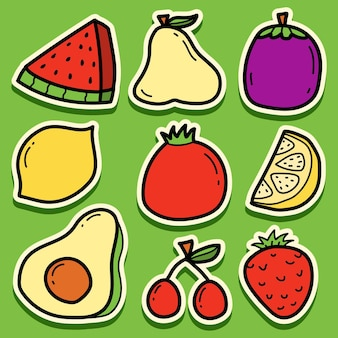 Hand getekend cartoon fruit sticker ontwerp